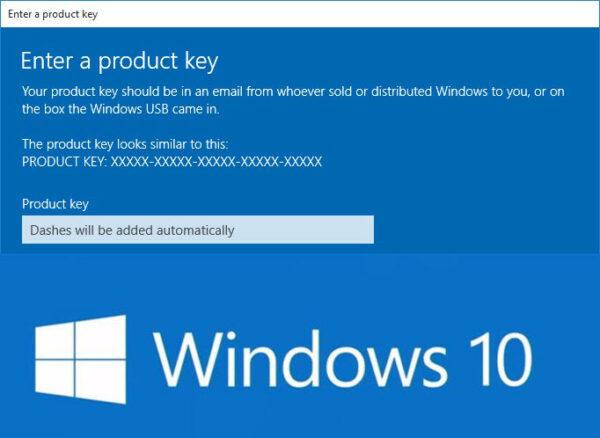 Изменить ключ продукта Windows 10